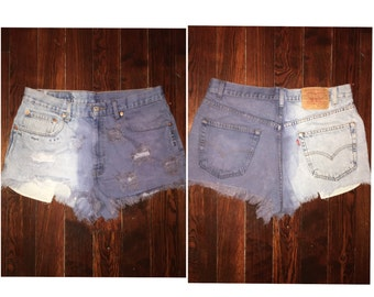 Distressed dyed studded Levi's shorts