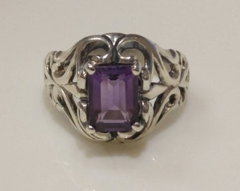Filigree Sterling Silver Amethyst Ring