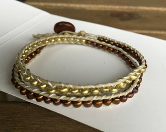 Gold and brown wrap bracelet