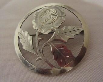 Vintage Silver Flower Brooch, Handmade, Handarbeit, .835, German Silver Brooch