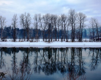 Reflection - nature photography - trees and river bank - blue and white - winter water scene - fine art wrapped canvas - modern home decor