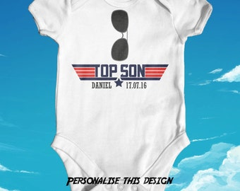 Personalised Top Son Top Gun baby bodysuit | top gun parody | cute baby boy clothes | funny baby bodysuit | baby shower gift | Newborn Baby