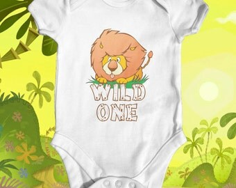 Wild one lion baby bodysuit | cute baby clothes | baby shower gift | animal baby bodysuit | funny baby bodysuit | newborn baby clothes
