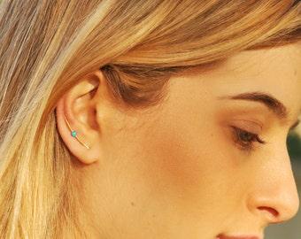 Simple ear climbers x2, gold filled earrings, earring pins, earring climbers, opal ear pins, climber earrings, ear crawlers, earrings pin