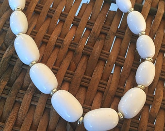 Vintage White Oval Bead Costume Jewelry