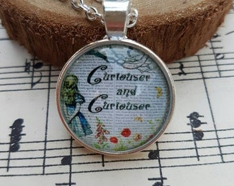 Cabochon pendant necklace featuring Alice on a silver chain -Curiouser and curiouser - FREE SHIPPING AU