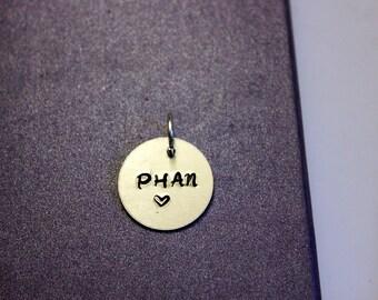 """Phish """"phan"""" stamped pendant"""