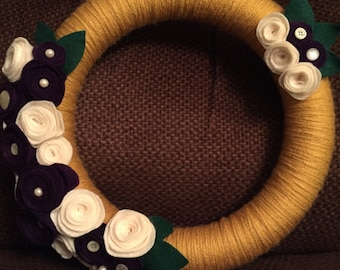 "Handmade 10"" yarn wreath with felt flowers"