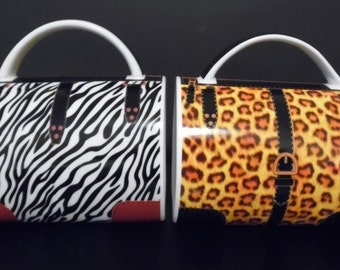 Purse Shaped Coffee Mugs in Leopard and Zebra Print ~ Unique Coffee Mugs ~ TWO for the Price of One