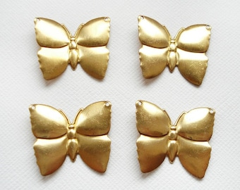 4 Raw Brass Butterfly Pendants