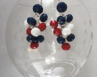 Fourth of July Red, White & Blue Beads on Silver Dangle Earrings