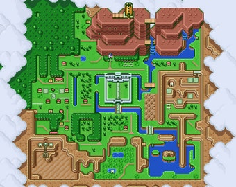 The Legend of Zelda: A Link to the Past Light World Map Poster