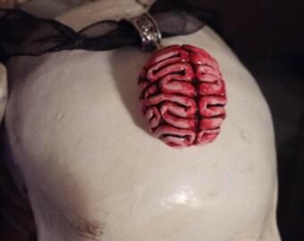 Brain zombie necklace charm