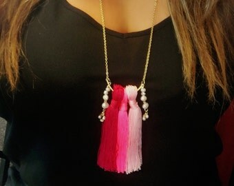 Ombre Tassel and Fresh water Pearls Necklace
