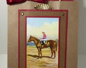 Race Horse Gift Bag - Thoroughbred - Horse Racing - Equestrian - Horse Lover - Handmade