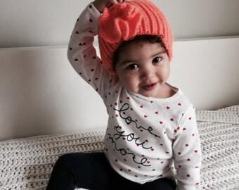 Knit Baby Flower Hat/ Orange