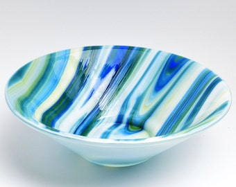 Large Fused Glass Cone Bowl in Streaky Blue, Green & White