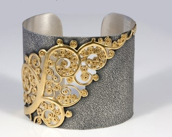 Filigree applied Gilded, part Oxidized Sterling Silver Cuff - VINTAGE