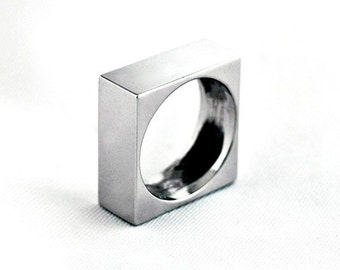 Sterling Silver SQUARED Ring with White Rhodium Plated