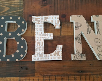 Wooden Block Letter Names.. Chose a palette