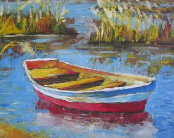 Original Oil Painting –Boat on the River Danube, Painting Original, Art , Impressionistic Oil on Wood panel
