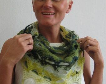 Green hand knit shawl Woman lace shawl Elegant lace wrap Hand knitted lace shawl Gift for her Triangle scarf Crochet accessories OOAK shawl