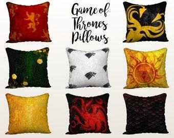 Game of Thrones Pillows, GOT Pillow, Houses, Stark, Targaryen, Lannister, Decorative Throw Pillow Covers, Mix n Match Pillows, Accent, Decor