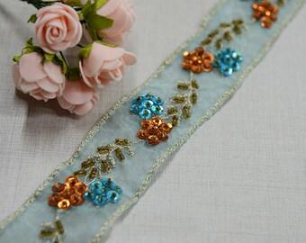 "5 yard 3.5cm 1.37"" wide light blue mesh beads lace trim ribbon L22K462 free ship"