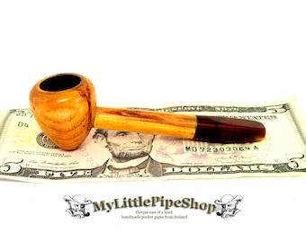 Wooden pocket herbal tobacco pipe Irish blackthorn wood