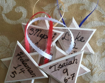 Set of four Star of David wood ornaments
