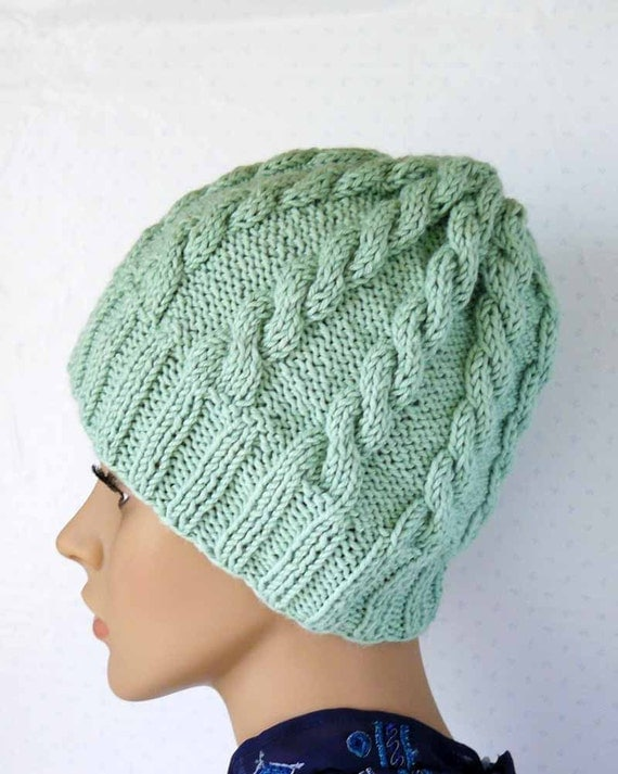 Knitting PATTERN Knitted Cable Wool Blend Beanie Womens