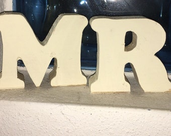 Wooden letters handmade MR-MRS