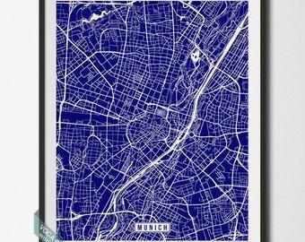 Munich Print, Germany Poster, Munich Poster, Munich Map, Germany Print, Germany Map, Street Map, Home Decor, Dorm Decor