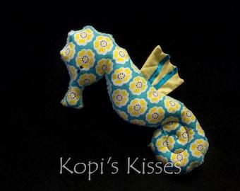 Seahorse softie (medium) - aqua/blue and yellow