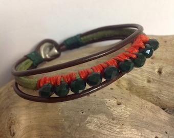 Women's leather bracelet. Handmade.