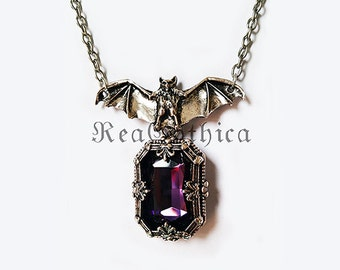 NIGHT WHISPER - Gothic Bat Necklace Crystal Cabochon Antique Silver Tone