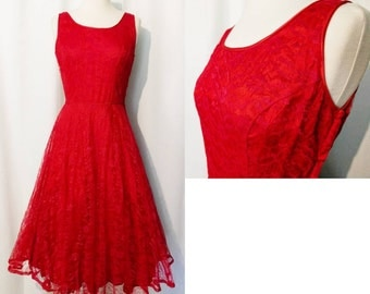 Red 50s Lace Party Dress