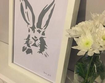 Hare Stencil Art Picture Frame Grey