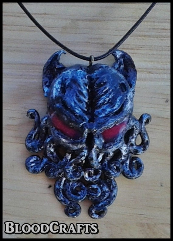 Handmade Cthulhu Lovecraft Octopus red eyes pendant silver grey color necklace Necronomicon