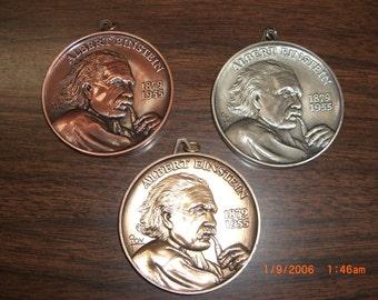"Albert Einstein E=mc2 Medals Detailed Gold Silver and Bronze tones set 2 1/2"" (3)"