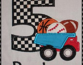 Boys Birthday Shirt, Truck, Sports