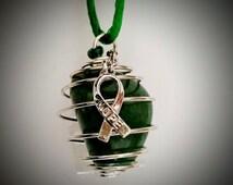 Liver Cancer, GREEN Awareness Ribbon AVENTURINE Gem Pendant Necklace, Specially Designed! Gemz4Gemz Nonprofit