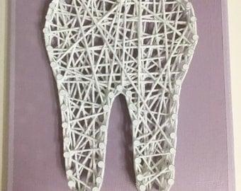 Tooth, String Art, Two Color, Molar, Dental, Dental Gift