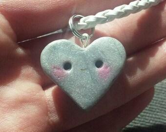 Silver Kawaii Heart Charm