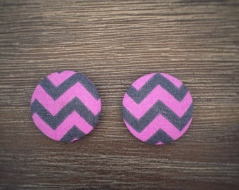 Set of 2 Purple and Grey Chevron Fabric Button Magnets 28mm