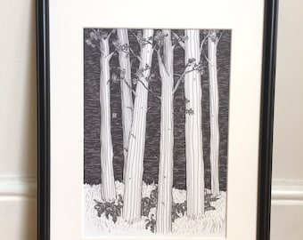 Wall art, tree picture, black and white art, Tolkien, Pen and ink, line drawing, art print, tree art, forest illustration, woodland scene, t