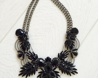 Large black statement necklace