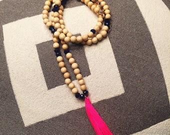 Tickle Me Pink Handmade Beaded Tassel Necklace