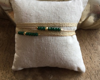 """Bracelet """"Fiji"""" double row green Swarovski"""