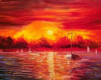Rough Night - original oil painting - sunset seascape by U.S. Artist Greg Gilreath